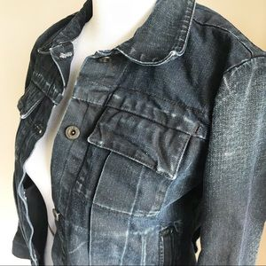 LUCKY BRAND Distressed Dark Wash Denim Jacket